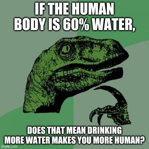 The human body is 60% water... |  IF THE HUMAN BODY IS 60% WATER, DOES THAT MEAN DRINKING MORE WATER MAKES YOU MORE HUMAN? | image tagged in memes,philosoraptor | made w/ Imgflip meme maker