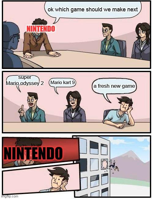 Boardroom Meeting Suggestion Meme |  ok which game should we make next; NINTENDO; super Mario odyssey 2; Mario kart 9; a fresh new game; NINTENDO | image tagged in memes,boardroom meeting suggestion | made w/ Imgflip meme maker
