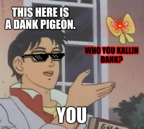 Dank pigeon. |  THIS HERE IS A DANK PIGEON. WHO YOU KALLIN DANK? YOU | image tagged in memes,is this a pigeon | made w/ Imgflip meme maker