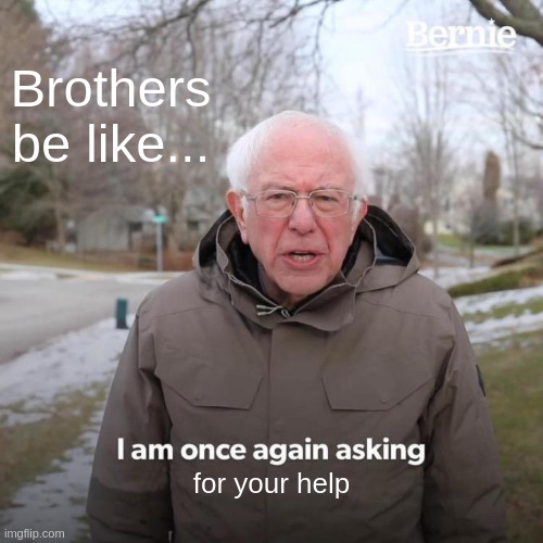 Bernie I Am Once Again Asking For Your Support Meme |  Brothers be like... for your help | image tagged in memes,bernie i am once again asking for your support | made w/ Imgflip meme maker