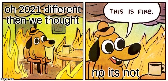 This Is Fine Meme |  oh 2021 different then we thought; no its not | image tagged in memes,this is fine | made w/ Imgflip meme maker