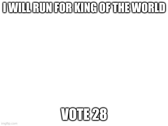 vote 28 |  I WILL RUN FOR KING OF THE WORLD; VOTE 28 | image tagged in blank white template | made w/ Imgflip meme maker