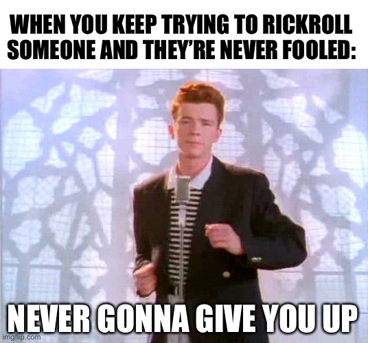 Never gonna give up on rickrolling XD |  WHEN YOU KEEP TRYING TO RICKROLL SOMEONE AND THEY'RE NEVER FOOLED:; NEVER GONNA GIVE YOU UP | image tagged in rickrolling,memes,funny,never gonna give you up,80s music,fails | made w/ Imgflip meme maker