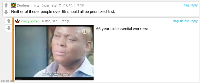 I asked whether politicians or essential workers should get the vaccine first | image tagged in funny,comments | made w/ Imgflip meme maker