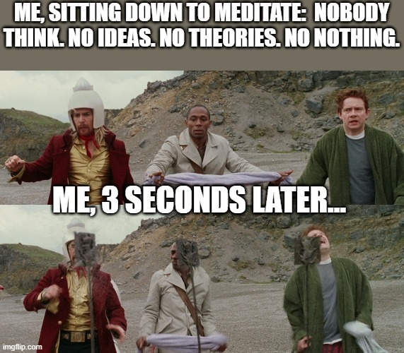 Me, Sitting Down to Meditate |  ME, SITTING DOWN TO MEDITATE:  NOBODY THINK. NO IDEAS. NO THEORIES. NO NOTHING. ME, 3 SECONDS LATER... | image tagged in meditation,mindfulness,hitchhiker's guide to the galaxy | made w/ Imgflip meme maker