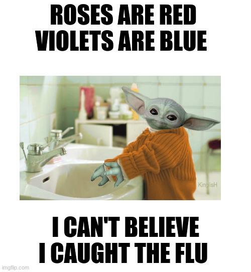 I don't like the flu |  ROSES ARE RED  VIOLETS ARE BLUE; I CAN'T BELIEVE I CAUGHT THE FLU | image tagged in just white | made w/ Imgflip meme maker