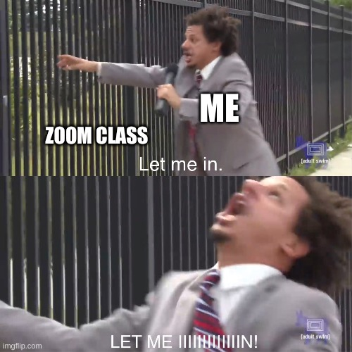 comment if relatable |  ME; ZOOM CLASS | image tagged in let me in,zoom,school,relatable | made w/ Imgflip meme maker
