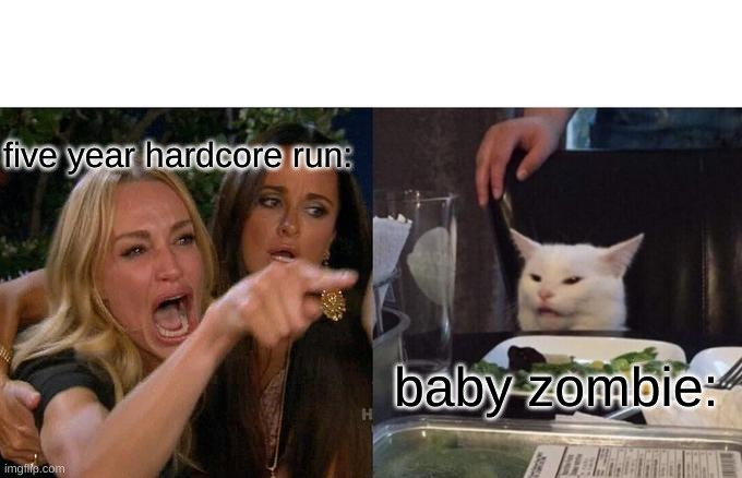 Rip hardcore world |  five year hardcore run:; baby zombie: | image tagged in memes,woman yelling at cat | made w/ Imgflip meme maker