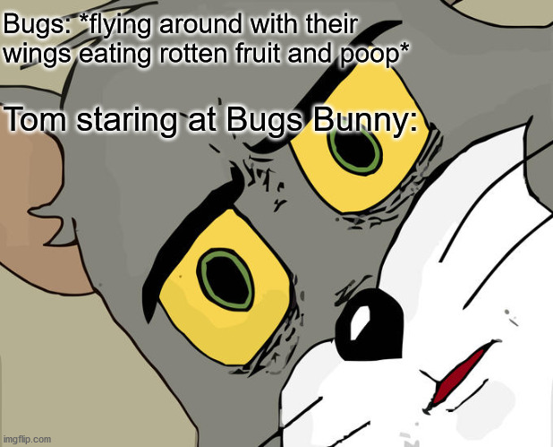O_O I didn't know that was a delicacy for wabbits! |  Bugs: *flying around with their wings eating rotten fruit and poop*; Tom staring at Bugs Bunny: | image tagged in memes,unsettled tom,bugs,bugs bunny,tom,poop | made w/ Imgflip meme maker