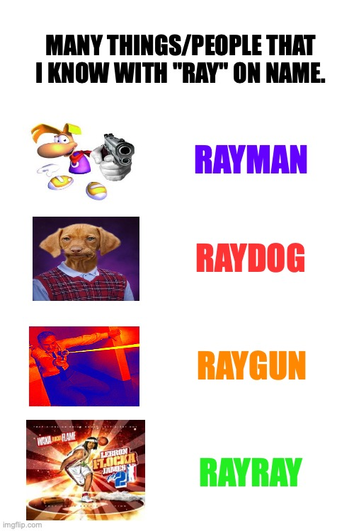 "Ray. |  MANY THINGS/PEOPLE THAT I KNOW WITH ""RAY"" ON NAME. RAYMAN; RAYDOG; RAYGUN; RAYRAY 