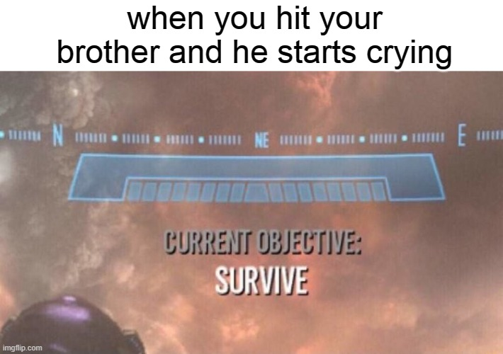 Current Objective: Survive |  when you hit your brother and he starts crying | image tagged in siblings,current objective survive | made w/ Imgflip meme maker