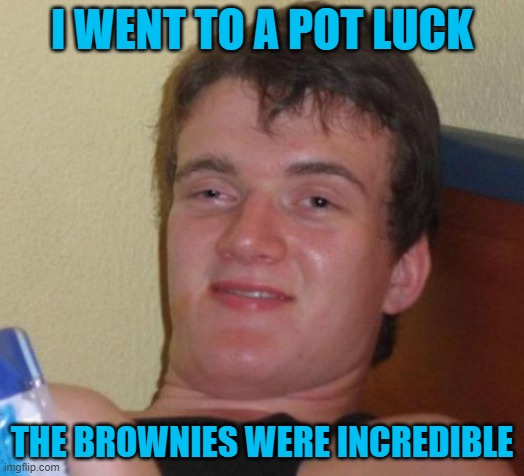 10 Guy |  I WENT TO A POT LUCK; THE BROWNIES WERE INCREDIBLE | image tagged in memes,10 guy | made w/ Imgflip meme maker