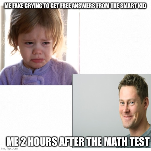 Hehe |  ME FAKE CRYING TO GET FREE ANSWERS FROM THE SMART KID; ME 2 HOURS AFTER THE MATH TEST | image tagged in math,test,math test,extra tag 1,extra tag 2,extra tag 3 | made w/ Imgflip meme maker