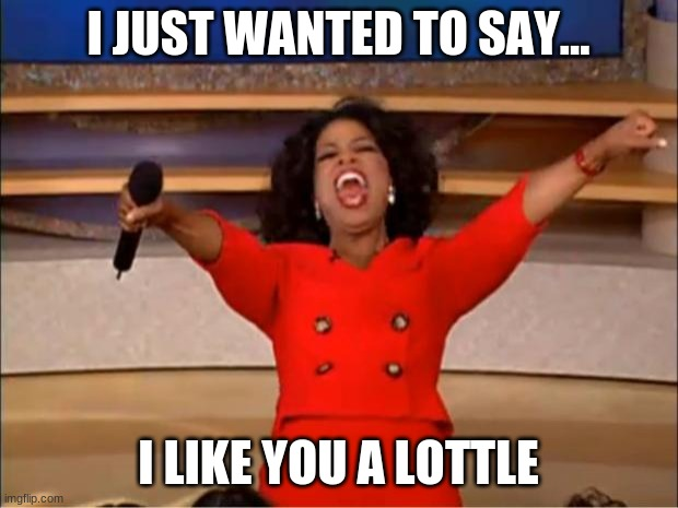 Yes you |  I JUST WANTED TO SAY... I LIKE YOU A LOTTLE | image tagged in memes,oprah you get a | made w/ Imgflip meme maker