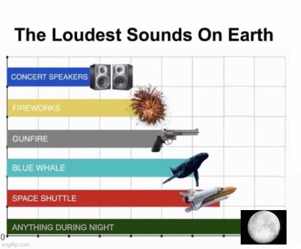The Loudest Sounds on Earth |  ANYTHING DURING NIGHT | image tagged in the loudest sounds on earth | made w/ Imgflip meme maker