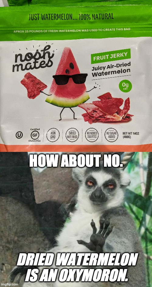 Fruit Jerky |  HOW ABOUT NO. DRIED WATERMELON IS AN OXYMORON. | image tagged in memes,stoner lemur,letsgetwordy,watermelon | made w/ Imgflip meme maker