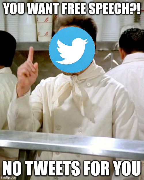 The Purge |  YOU WANT FREE SPEECH?! NO TWEETS FOR YOU | image tagged in soup nazi | made w/ Imgflip meme maker