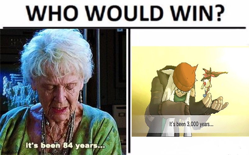 Idk about the old lady but I think the guy on the right is pretty much nailing it | image tagged in who would win,memes,funny,it's been 84 years,gifs,oh wow are you actually reading these tags | made w/ Imgflip meme maker