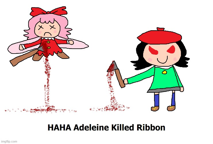 Adeleine Kills Ribbon So Many Times | image tagged in artwork,kirby,gore,blood,funny,fanart | made w/ Imgflip meme maker
