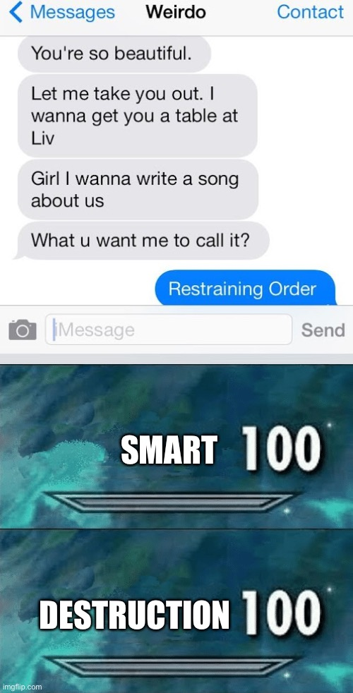 Smart 100 |  SMART; DESTRUCTION | image tagged in skyrim skill meme,funny,memes,texting,text messages | made w/ Imgflip meme maker