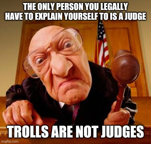 If They Don't Like It They Can Leave Because You Don't Owe Trolls An Explanation |  THE ONLY PERSON YOU LEGALLY HAVE TO EXPLAIN YOURSELF TO IS A JUDGE; TROLLS ARE NOT JUDGES | image tagged in mean judge,judgement,don't feed the trolls,trolls,imgflip trolls,internet troll | made w/ Imgflip meme maker