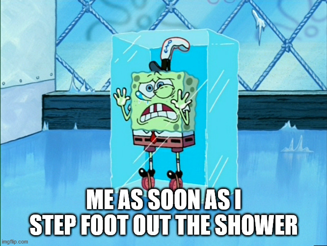 I'm not ready |  ME AS SOON AS I STEP FOOT OUT THE SHOWER | image tagged in spongebob icecube | made w/ Imgflip meme maker