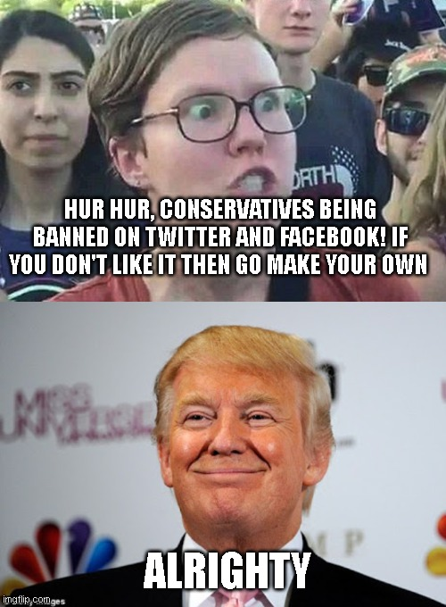 HUR HUR, CONSERVATIVES BEING BANNED ON TWITTER AND FACEBOOK! IF YOU DON'T LIKE IT THEN GO MAKE YOUR OWN; ALRIGHTY | image tagged in triggered liberal,donald trump approves | made w/ Imgflip meme maker