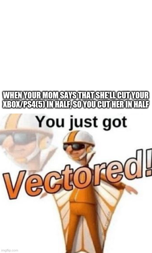 WHEN YOUR MOM SAYS THAT SHE'LL CUT YOUR XBOX/PS4(5) IN HALF, SO YOU CUT HER IN HALF | image tagged in blank white template,you just got vectored | made w/ Imgflip meme maker