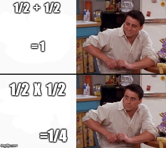 Comprehending Joey |  1/2  +  1/2               = 1; 1/2  X  1/2                                      =1/4 | image tagged in comprehending joey | made w/ Imgflip meme maker