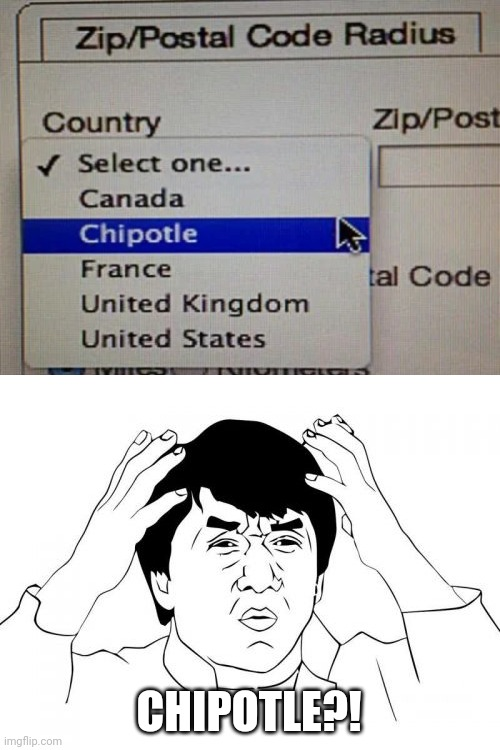 Selecting Countries be like... |  CHIPOTLE?! | image tagged in memes,jackie chan wtf,chipotle,you had one job,funny,task failed successfully | made w/ Imgflip meme maker