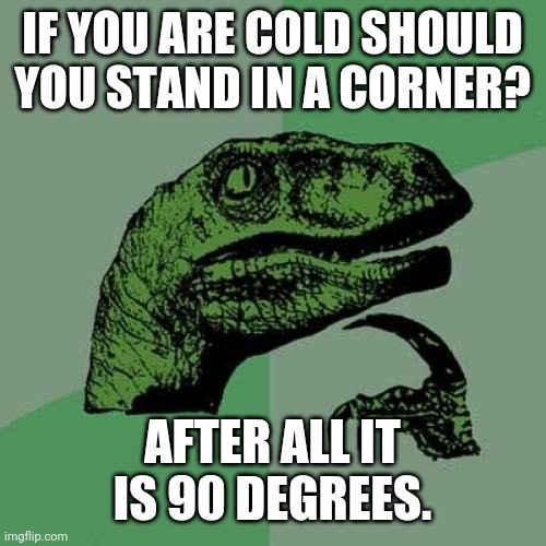 Right on |  IF YOU ARE COLD SHOULD YOU STAND IN A CORNER? AFTER ALL IT IS 90 DEGREES. | image tagged in philosoraptor,cold,warm,heat,jokes,thoughts | made w/ Imgflip meme maker