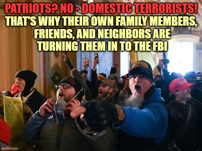 Capitol Rioters are NOT Patriots but Domestic Terrorists |  PATRIOTS? NO - DOMESTIC TERRORISTS! THAT'S WHY THEIR OWN FAMILY MEMBERS,  FRIENDS, AND NEIGHBORS ARE  TURNING THEM IN TO THE FBI | image tagged in capitol rioters,maga,traitors,donald trump you're fired,domestic terrorist | made w/ Imgflip meme maker