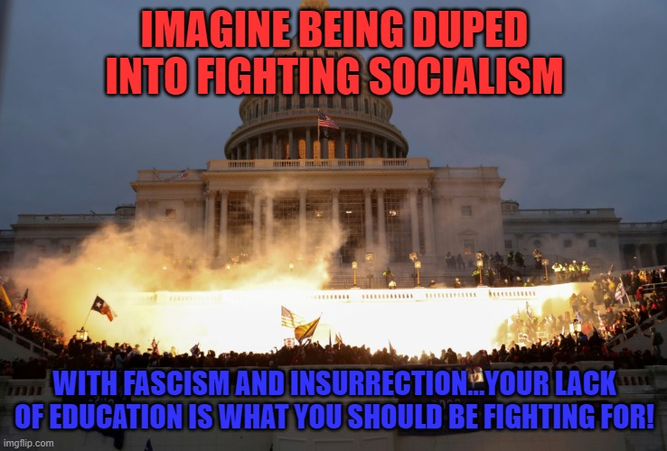 The fight |  IMAGINE BEING DUPED INTO FIGHTING SOCIALISM; WITH FASCISM AND INSURRECTION...YOUR LACK OF EDUCATION IS WHAT YOU SHOULD BE FIGHTING FOR! | image tagged in fascism,terrorism,trump,stupid criminals | made w/ Imgflip meme maker