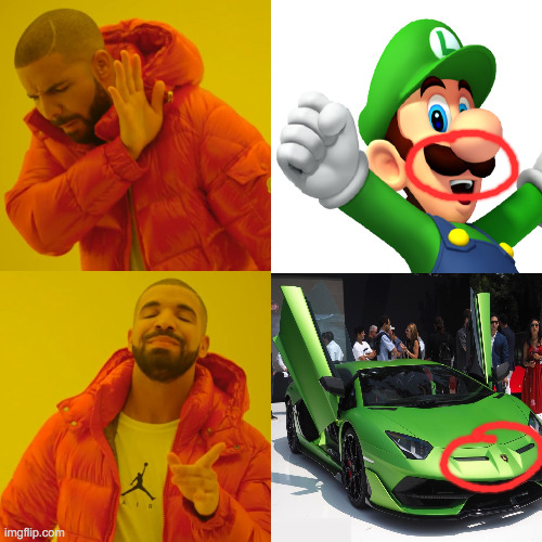 Who did it better? | image tagged in luigi,mario,lamborghini,cars,drake hotline bling | made w/ Imgflip meme maker