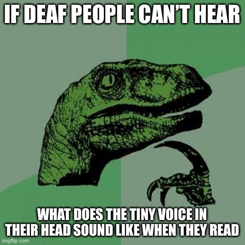 Well. I'm never going to sleep again- |  IF DEAF PEOPLE CAN'T HEAR; WHAT DOES THE TINY VOICE IN THEIR HEAD SOUND LIKE WHEN THEY READ | image tagged in memes,philosoraptor | made w/ Imgflip meme maker