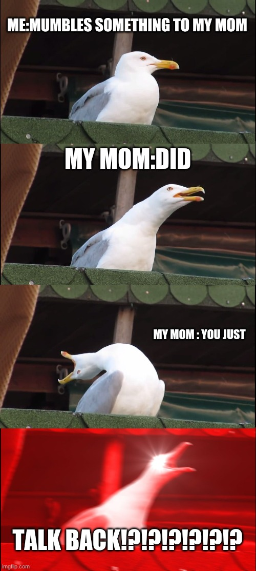 Inhaling Seagull Meme |  ME:MUMBLES SOMETHING TO MY MOM; MY MOM:DID; MY MOM : YOU JUST; TALK BACK!?!?!?!?!?!? | image tagged in memes,inhaling seagull | made w/ Imgflip meme maker