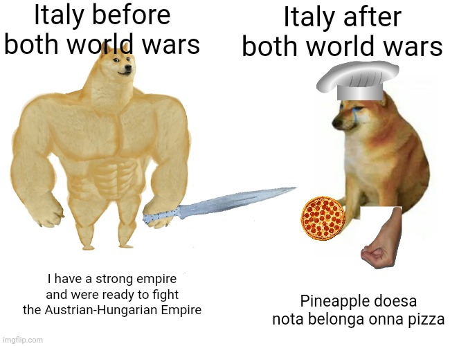 Buff Doge vs. Cheems Meme |  Italy before both world wars; Italy after both world wars; I have a strong empire and were ready to fight the Austrian-Hungarian Empire; Pineapple doesa nota belonga onna pizza | image tagged in memes,buff doge vs cheems,italy,pineapple pizza,pizza,funny | made w/ Imgflip meme maker