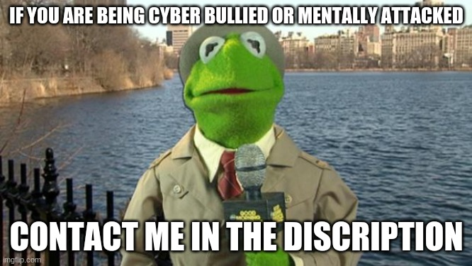 CONTACT ME I'LL HELP |  IF YOU ARE BEING CYBER BULLIED OR MENTALLY ATTACKED; CONTACT ME IN THE DISCRIPTION | image tagged in kermit news report | made w/ Imgflip meme maker