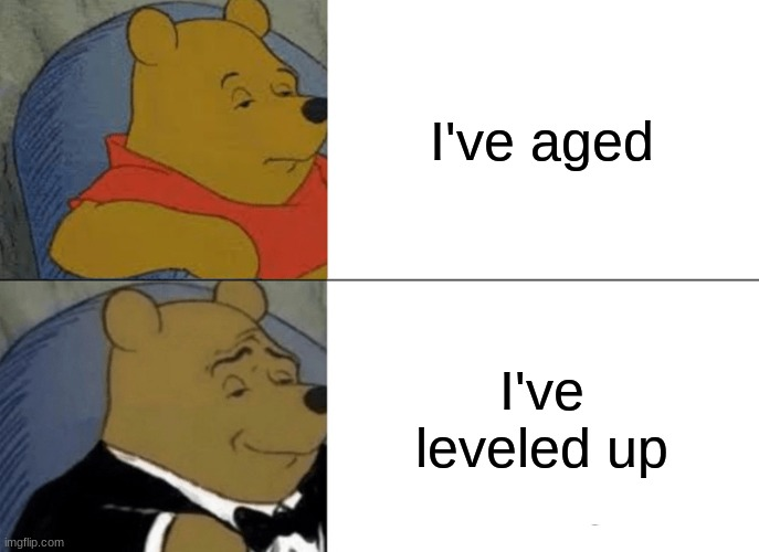1up |  I've aged; I've leveled up | image tagged in memes,tuxedo winnie the pooh,funny,happy birthday,funny memes | made w/ Imgflip meme maker