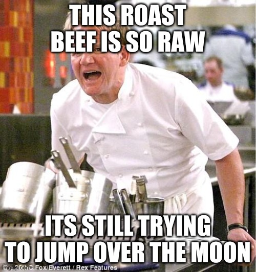 Chef Gordon Ramsay Meme |  THIS ROAST BEEF IS SO RAW; ITS STILL TRYING TO JUMP OVER THE MOON | image tagged in memes,chef gordon ramsay | made w/ Imgflip meme maker