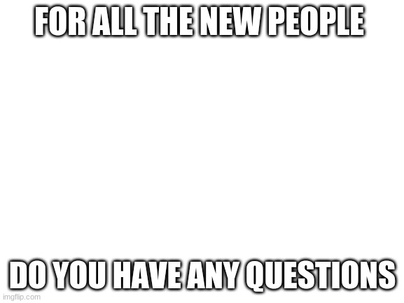 For the new people |  FOR ALL THE NEW PEOPLE; DO YOU HAVE ANY QUESTIONS | image tagged in blank white template | made w/ Imgflip meme maker
