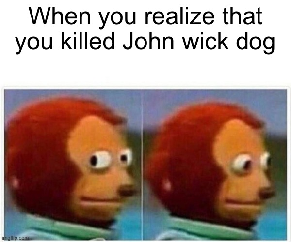 Monkey Puppet Meme |  When you realize that you killed John wick dog | image tagged in memes,monkey puppet | made w/ Imgflip meme maker