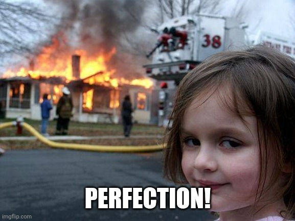 Disaster Girl Meme | PERFECTION! | image tagged in memes,disaster girl | made w/ Imgflip meme maker