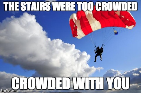 THE STAIRS WERE TOO CROWDED CROWDED WITH YOU | image tagged in skydiving | made w/ Imgflip meme maker