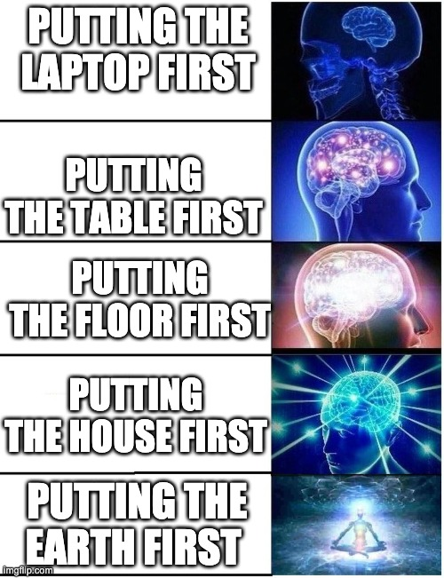 Expanding Brain 5 Panel |  PUTTING THE LAPTOP FIRST; PUTTING THE TABLE FIRST; PUTTING THE FLOOR FIRST; PUTTING THE HOUSE FIRST; PUTTING THE EARTH FIRST | image tagged in expanding brain 5 panel | made w/ Imgflip meme maker