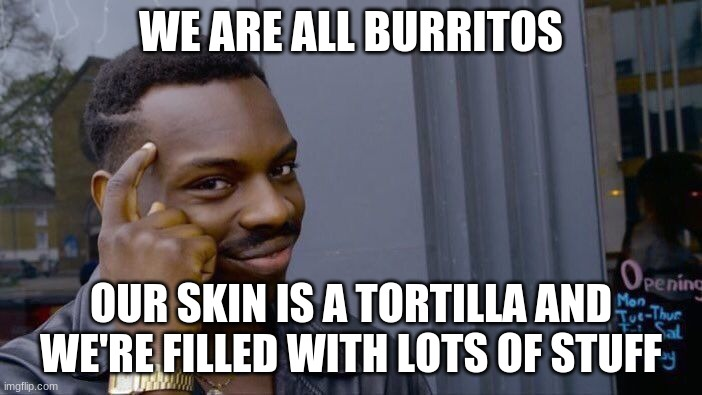*Just discovered the secret of the universe O.O* |  WE ARE ALL BURRITOS; OUR SKIN IS A TORTILLA AND WE'RE FILLED WITH LOTS OF STUFF | image tagged in memes,roll safe think about it | made w/ Imgflip meme maker
