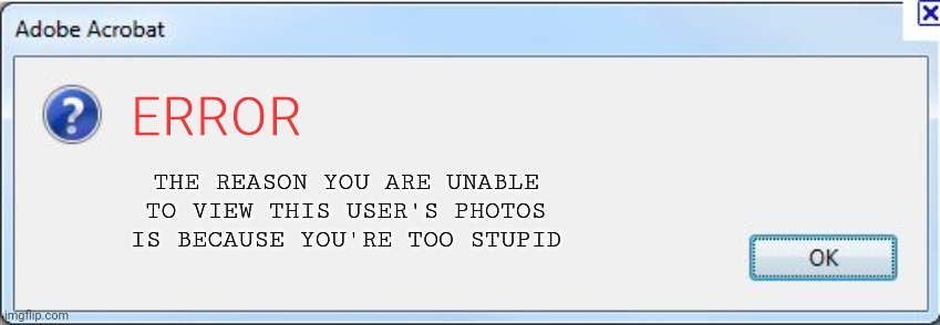 Error Message |  ERROR; THE REASON YOU ARE UNABLE TO VIEW THIS USER'S PHOTOS IS BECAUSE YOU'RE TOO STUPID | image tagged in error message | made w/ Imgflip meme maker