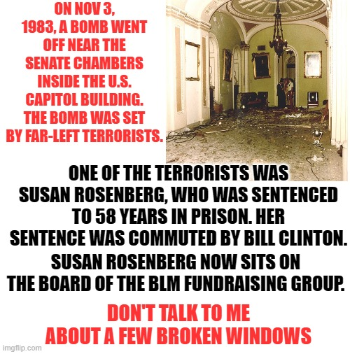 The hypocrisy of the left. |  ON NOV 3, 1983, A BOMB WENT OFF NEAR THE SENATE CHAMBERS INSIDE THE U.S. CAPITOL BUILDING. THE BOMB WAS SET BY FAR-LEFT TERRORISTS. ONE OF THE TERRORISTS WAS SUSAN ROSENBERG, WHO WAS SENTENCED TO 58 YEARS IN PRISON. HER SENTENCE WAS COMMUTED BY BILL CLINTON. SUSAN ROSENBERG NOW SITS ON THE BOARD OF THE BLM FUNDRAISING GROUP. DON'T TALK TO ME ABOUT A FEW BROKEN WINDOWS | image tagged in senate bomb | made w/ Imgflip meme maker
