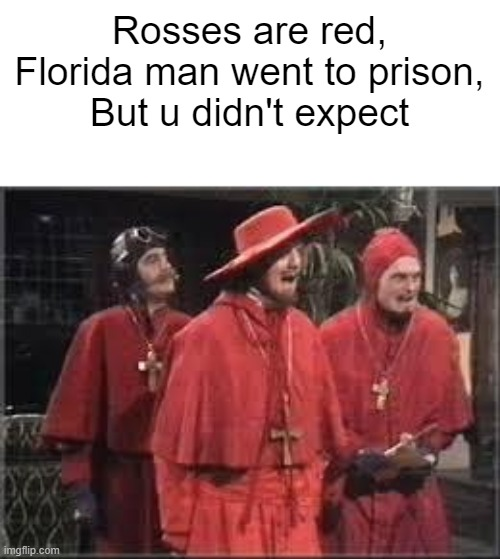 It's true. |  Rosses are red, Florida man went to prison, But u didn't expect | image tagged in spanish inquisition | made w/ Imgflip meme maker