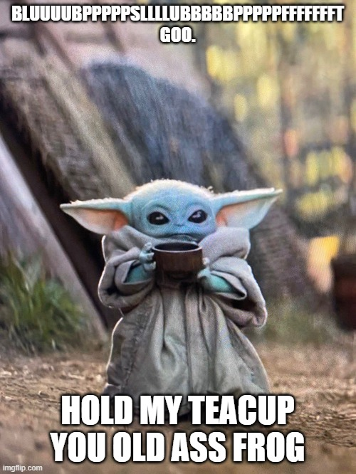 BABY YODA TEA | BLUUUUBPPPPPSLLLLUBBBBBPPPPPFFFFFFFT GOO. HOLD MY TEACUP YOU OLD ASS FROG | image tagged in baby yoda tea | made w/ Imgflip meme maker